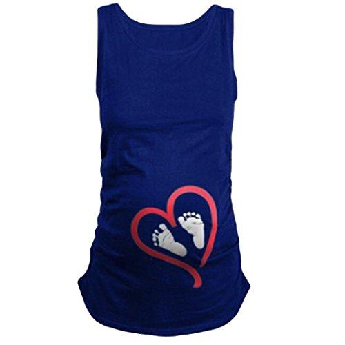 Pleated Washed Silk Dress - Goddessvan Pregnant Shirts for Women,Summer Sleeveless Blouse Footprint Print for Maternity T-Shirt (L, Blue)