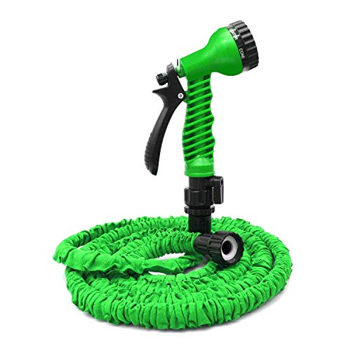 VC-Time Garden Hose, Water Hose, 25FT Expandable Garden Water Hose, Double Latex Core - Extra Strength Fabric Protection - 7 Functions Spray Nozzle, Collapsible Hose for Flowers (25FT, Green)