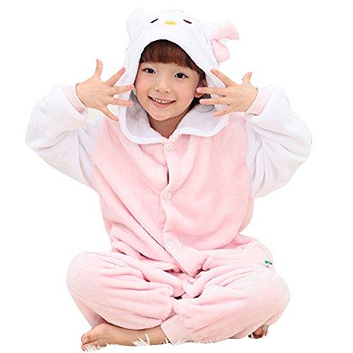 [JoyVany Kids Anime Costume Pajamas Kids Animal Onesie Cosplay Sleepwear Hello Kitty M] (Sexy Hello Kitty Costumes)