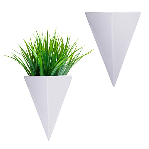 (MyGift Pyramid White Ceramic Wall-Mounted Sconce-Style Succulent Planter Vases, Set of 2)