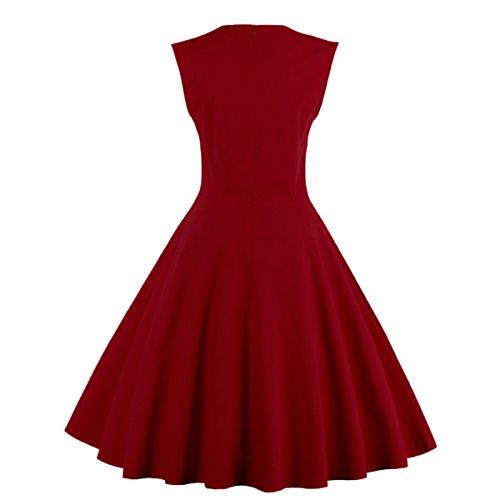 Donne Altalena Vino Vestito Rosso Rockabilly '50 Retr M1336 Dissa nIw4Fqdd