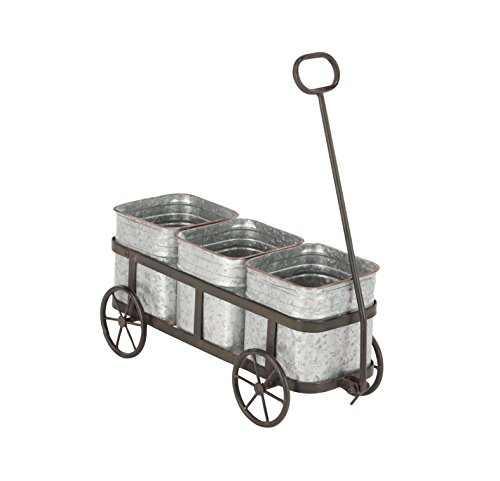 Deco 79 94680 Planter, Gray/Silver