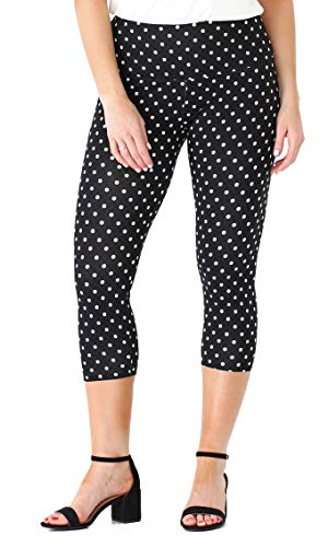 INTRO. Tummy Control High Waist Printed Capri Cotton \ Spandex Legging Black - White Polka Dot Size Petite Small