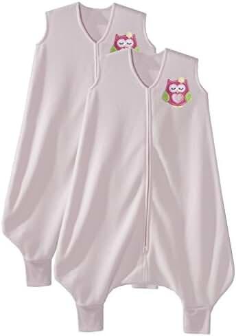 HALO 2 Pack Early Walker SleepSack Microfleece Wearable Blanket, Large, Pink Owl