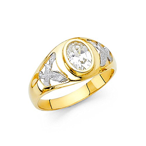 - Paradise Jewelers 14K Solid Gold Brilliant White Cubic Zirconia Men's Eagle band Ring, Size 13.5