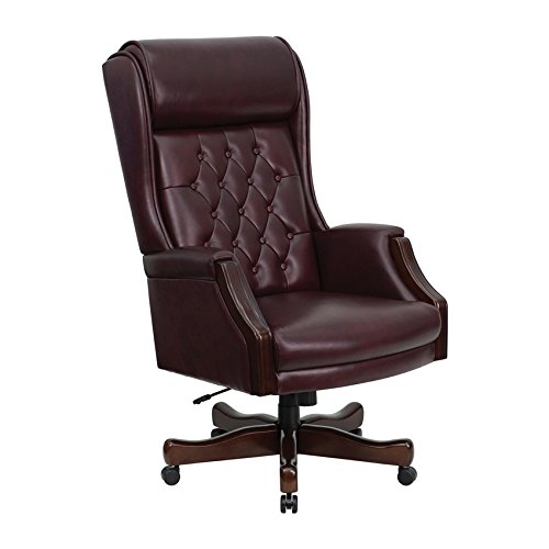 Offex KC-C696TG-GG High Back Traditional Tufted Executive Office Chair, Burgundy Leather