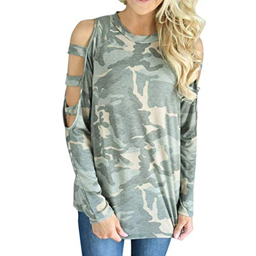 Women Camouflage Loose Long Sleeve Tops Off Shoulder Blouse Sweatshirt Pullover