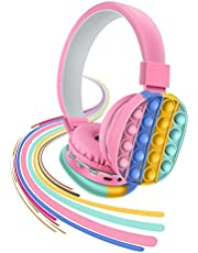 Bluetooth On-Ear Headphone with Pop Bubbles, Silicone Push and Pop Fidget Toy Headphone Colorful Stereo Wireless Bluetooth Headset for Mobilephone Tablet PC (Pink)