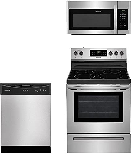 FFMV1645TS 30 Over-the-Range Microwave and FFBD2406NS 24 Full Console Dishwasher Frigidaire 3-Piece Stainless Steel Kitchen Package with FFEF3054TS 30 Freestanding Electric Range