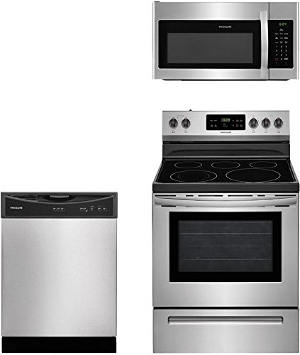 Frigidaire 3-Piece Stainless Steel Kitchen Package with FFEF3054TS 30' Freestanding Electric Range, FFMV1645TS 30' Over-the-Range Microwave and FFBD2406NS 24' Full Console Dishwasher