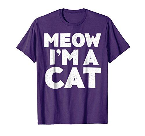 Mens Meow I'm A Cat T-Shirt Halloween Costume Shirt Large Purple -