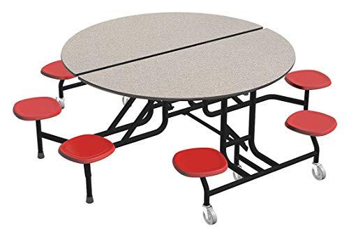 8-Seat Round Mobile Stool Table, Oak, 29