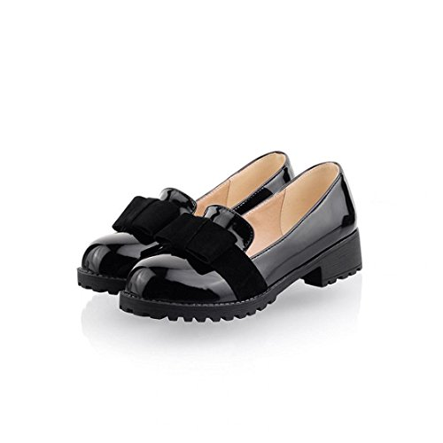 Women's Round Toe Flat Loafers Sweet Casual Shoes with Bow Black - 1