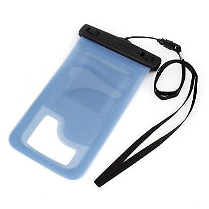eDealMax Caso claro impermeable subacuático Azul Para Los teléfonos celulares w cuerdas de Nylon