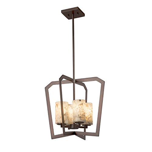 Alabaster Rocks! - Aria 4-Light Intersecting Chandelier - Cylinder with Flat Rim Alabaster Rocks Shade - Dark Bronze Finish - LED (Aria Chandelier Light 10)