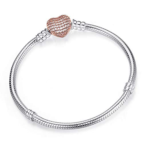 Friendshiy Authentic Silver Color Snake Chain Fine Bracelet Fit European Charm Bracelet for Women DIY Jewelry Making,R06,17cm