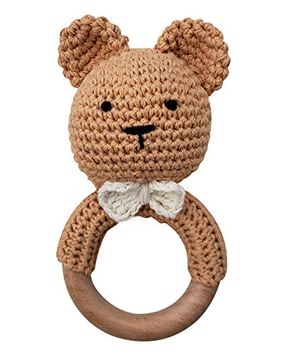 Natural-Crochet-Teddy-Bear-Teether-Baby-Toy-Rattle-Forest-Friends-Amigurumi-on-Natural-Wooden-Teething-Ring-Rattle-New-Born-Photography-Teddy-Bear-Rattle