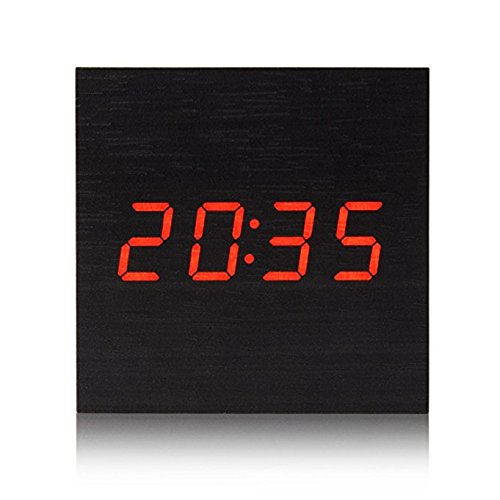 Virgin forest Wooden Cube Digital Desk Alarm Clock for Kids LED Travel Clock with Time / Week / Date / Temperature Displaying Sound Control Powered by3AAA Batteries (Black) (Clock Square Forest Black)