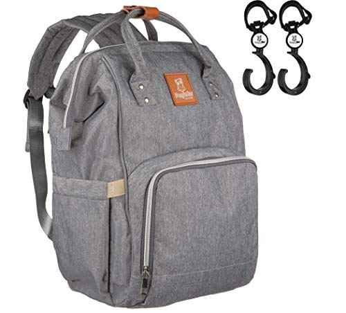 PandaEar Diaper Bag Backpack Grey