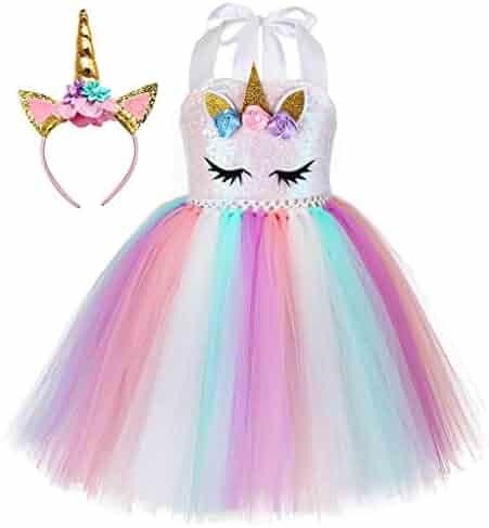 Tutu Dreams Unicorn Costume for Girls 1-12Y with Headband 4 Designs