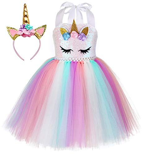 Tutu Dreams Unicorn Outfits for Toddler Girls Baby Sequin Top Dress Birthday Party(Sequin Unicorn, Small)]()