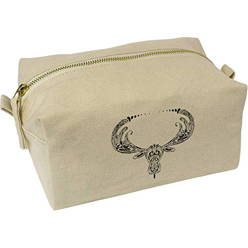 - Azeeda 'Moose Motif' Canvas Wash Bag / Makeup Case (CS00004289)