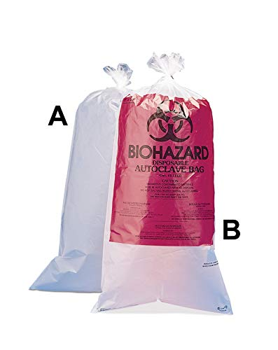 12 x 24 in. Biohazard Disposal Bags, Regular Clear, Printed, 1.5 mil.