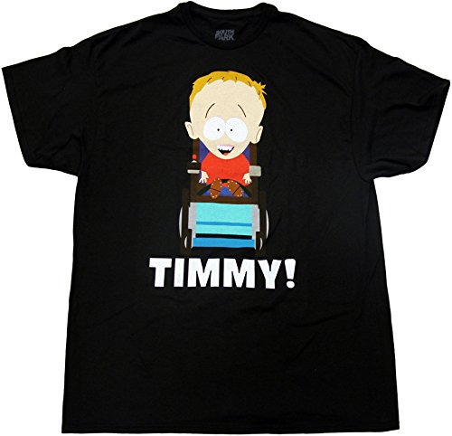 South Park Timmy On Wheelchair Adult Black T-Shirt