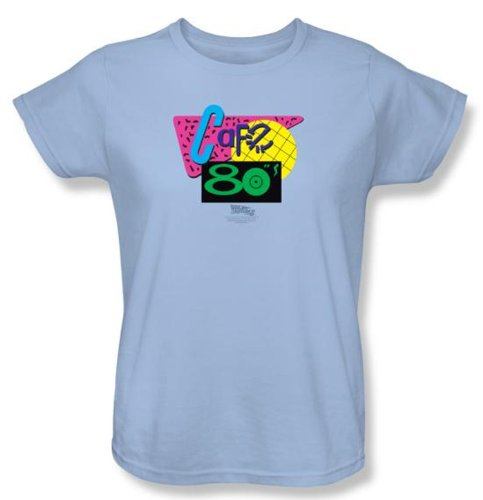Back To The Future II Ladies T-shirt Movie Cafe 80s Light Blue Shirt, 2XL