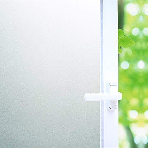 White Frosted Window Film Privacy, High Privacy Protection/No Glue Window Tint Glass Door Film/Heat Control/Anti UV, Stained Glass Static Cling for Bathroom/Office, 35.5x78.7 inch