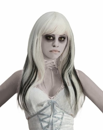 [Forum Black Streaked Phantom Wig, White, One Size] (Halloween Costumes Black Wig)