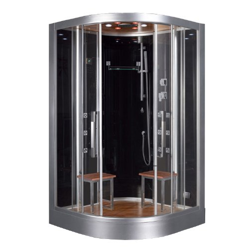 "Ariel Platinum DZ962F8-BLK Steam Shower & Sauna - 47.2"" x 47.2"" Bow Front - 2 Person"