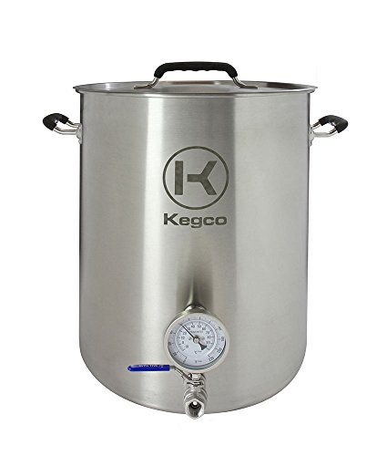 Kegco 10 Gallon Brew Kettle with Thermometer & 2-Piece Ball Valve