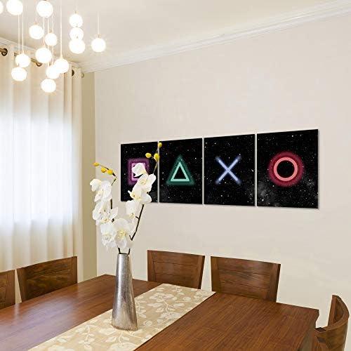 Bilder Spielkonsole Gamer Wandbild 160 x 50 cm Vlies - Leinwand Bild XXL Format Wandbilder Wohnzimmer Wohnung Deko Kunstdrucke Bunt 4 Teilig - MADE IN GERMANY - Fertig zum Aufhängen 023846b 3