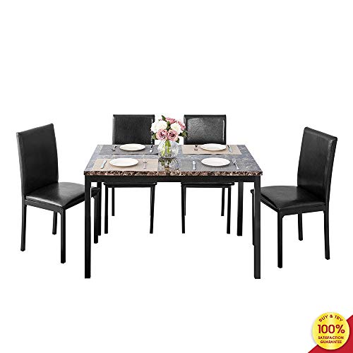 Romatlink 5-Piece Dining Table Set Marble Top Counter Height with 4 PU Leather Stools, Perfect for Kitchen, Breakfast Nook, Bar, Living Room,Dining Table Set,Gray
