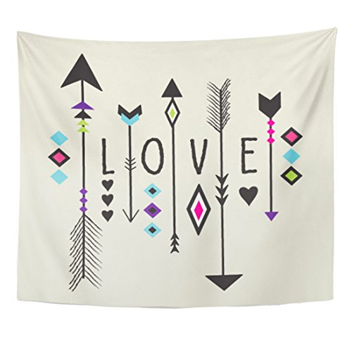 Apache Tapestry - TOMPOP Tapestry Abstract Love Text with Arrow and Tribal Pattern Design in Boho Style Ancient Apache Home Decor Wall Hanging for Living Room Bedroom Dorm 50x60 Inches