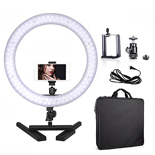 Selens Camera Photo Video 14'' Outer 40W 180PCS LED Ring Light 5500K Dimmable Youtube Lighting kit with Mount for DSLR Camera Cellphone and Desktop Stand for Make Up, Youtube Video, Live Webcast by Selens
