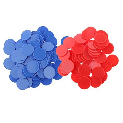 - MonkeyJack 200 Pieces Plastic Poker Chips Bingo Markers Tokens for Party Casino oard Game Toy Red Blue