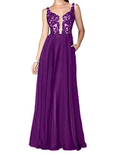 Kleider Brau mia Partykleider Jugendweihe Ballkleider Abendkleider Elegant La Lang Spitze Violett Brautjungfernkleider w4xzqz65