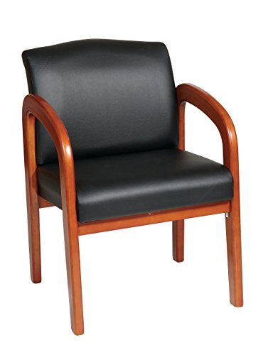 Office Star WD380-U6 Medium Visitors Chair with Oak Finish Base and Arms, Black Faux Leather (Reception Faux Leather)