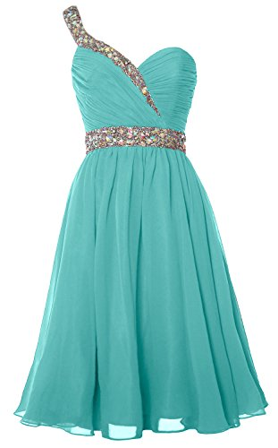 Gown Shoulder Turquoise Prom One Party Gorgeous Homecoming MACloth Formal Short Dress qwzHEKCO