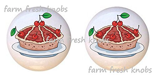 SET OF 2 KNOBS - Cherry Pie Cherries - Kitchen by Alenka - DECORATIVE Glossy CERAMIC Cupboard Cabinet PULLS Dresser Drawer KNOBS (Cherry Painted Cabinet)