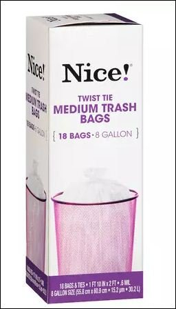 Nice! Twist Tie Medium Trash Bags 8 Gallon 18.0 ea (pack of 6) by © 2015 Walgreen Co.