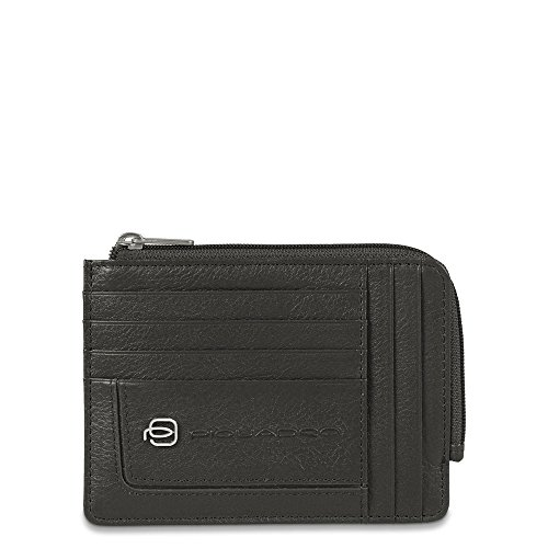 PIQUADRO Leather zipper coin pouch with document holder and credit card slots Vibe Negro