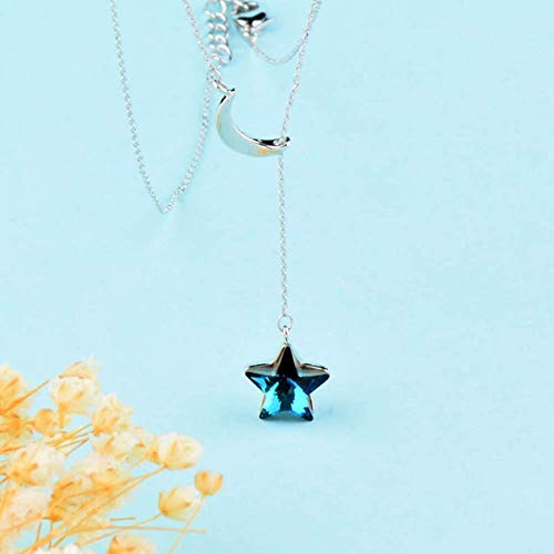 Davitu SINLEERY Elegant Silver Color Moon Adjustable Blue Crystal Star Pendant Necklace Chain for Women Wedding Jewelry XL035 SSC - (Metal Color: White Gold - Star Crystal Tipperary