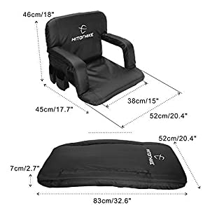 Hitorhike Stadium Seat for Bleachers or Benches Portable Reclining Stadium Seat Chair with Padded Cushion Chair Back and Armrest Support by HITORHIKE