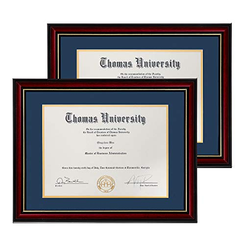 Flagship Diploma Frame 2 Pack Real Wood & Glass Golden Rim Sized 8.5x11 Inch with Mat and 11x14 Inch Without Mat for Documents Certificates (Double Mat, Navy Blue Mat with Golden Rim)
