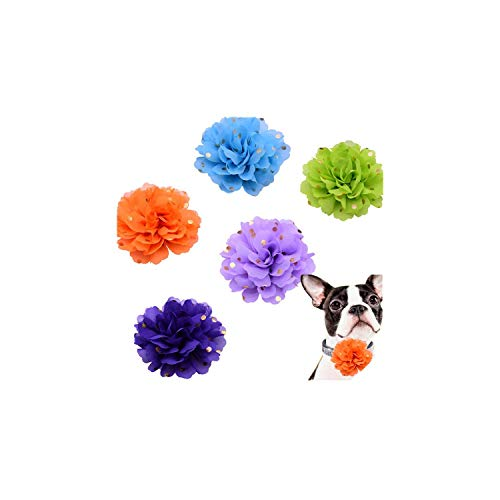 (5pcs Reomovable Pet Collar Charms Small Dog Cat Pet Holiday Grooming Accessories Big Flower Diamond Pet Supplies Pet Bow Tie,Flower 9.5cm1,3cm)