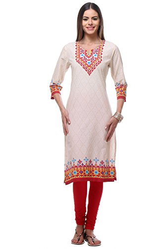In-Sattva Women's Diamond Patterned Kurta Tunic with Printed Yoke; off-white; lg