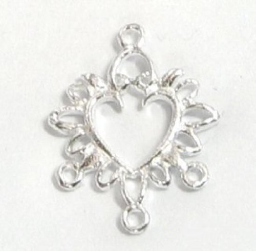2 pcs .925 Sterling Silver Heart Filigree Chandelier Earrings Necklace Connector/Findings/Bright